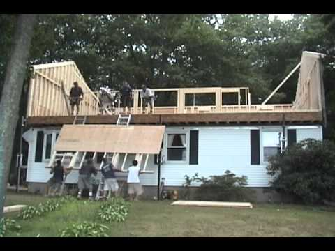 Raising the roof in 1 day youtube for Building a second story on a house