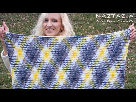 DIY Tutorial - How to Crochet Color Planned Pooling Argyle for Super Scarf & Afghan Blanket