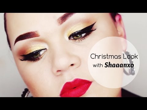 Christmas Glamour with Shaaanxo ♡ Gold Eyes and Red Lips