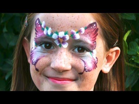 Blumen Schmetterling schminken / Schmetterling mit Blumen Kinderschminken Vorlage / Video Anleitung