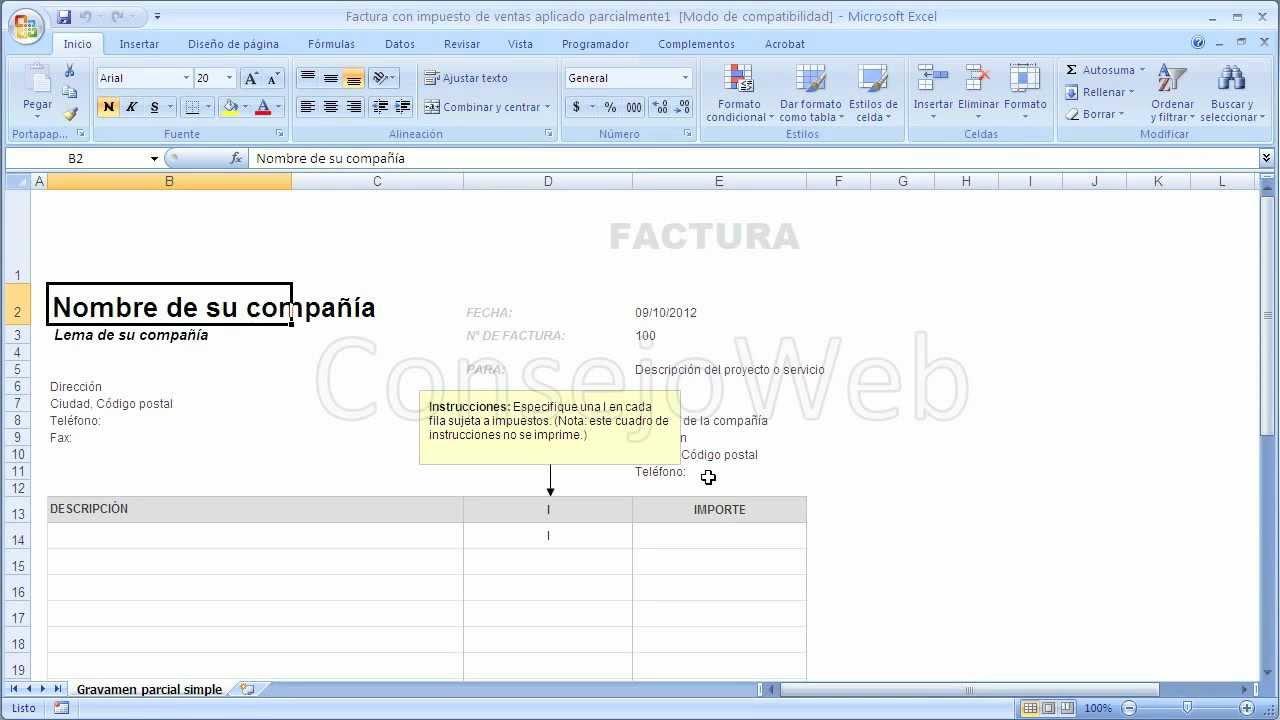 Como Hacer Una Factura En Excel 2007 2010 Youtube
