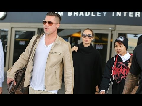 Angelina Jolie & Brad Pitt Land in Los Angeles with Maddox! | Feb 2014