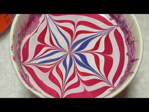 4th of July Water Marble Nail Art Tutorial, Glad for once I didn't have any plans to be ruined by this ridiculous heat! Almost skipped a water marble this year but I had so many requests I thought I wo...