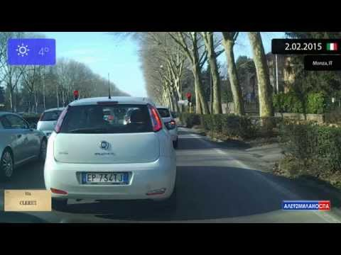 Driving through Milano (Italy) from Bicocca to Monza 2.02.2015 Timelapse x4