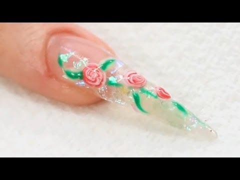 UV Gel Nail Art Roses Tutorial Video by Naio Nails