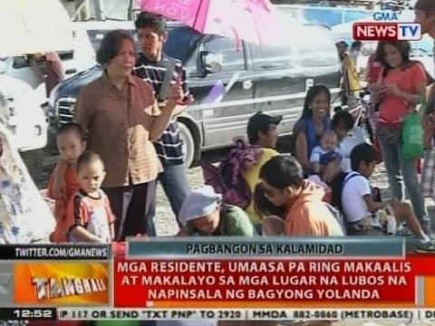BT: Mga taga Tacloban, umaasa pa ring makaalis at makalayo sa mga lugar na napinsala ni Yolanda