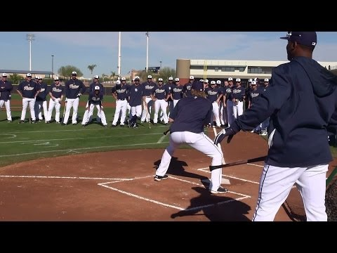 San Diego Padres Pitchers hold their 2014 Bunting Competition