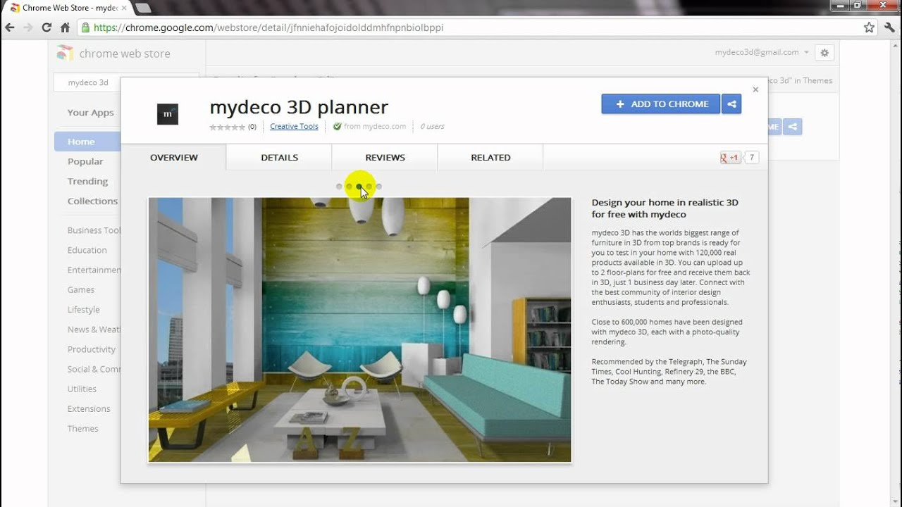 How to add mydeco 3d to your google chrome apps youtube for My deco 3d planner