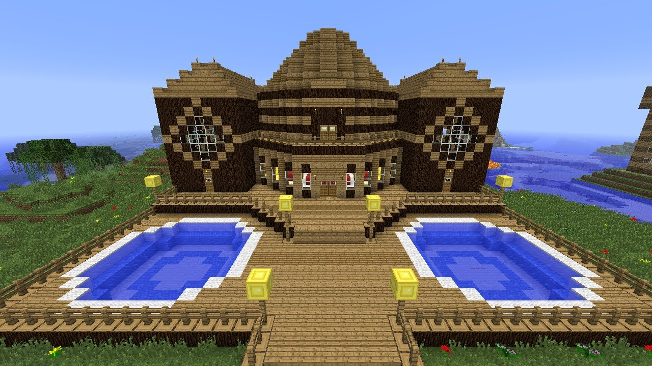 Minecraft Tutorial Of How I Built The Wooden Mansion ...