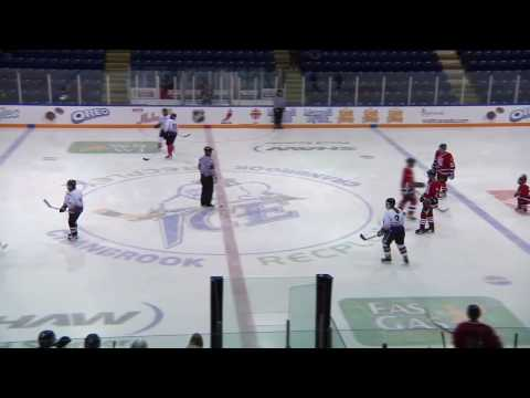 Yougest player on the ice in Cranbrook hockeyville promo game - gets a penalty shot