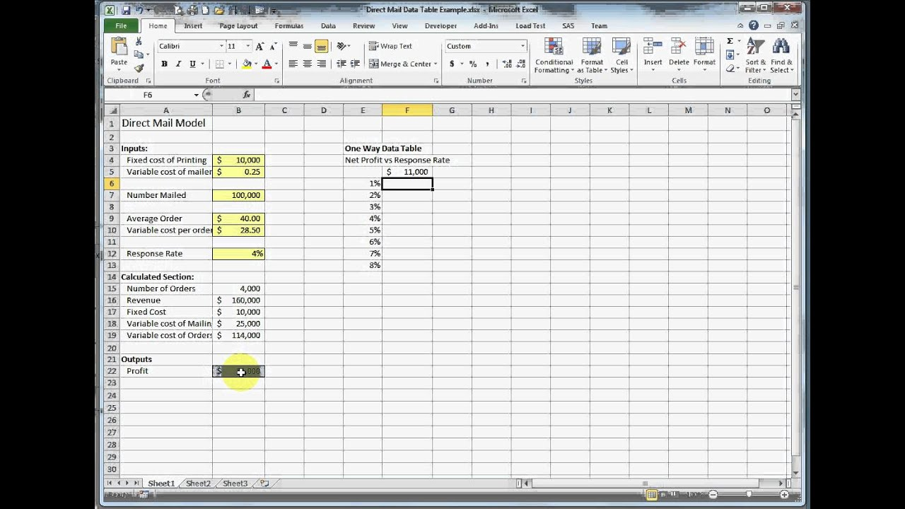 how to make a data table in excel