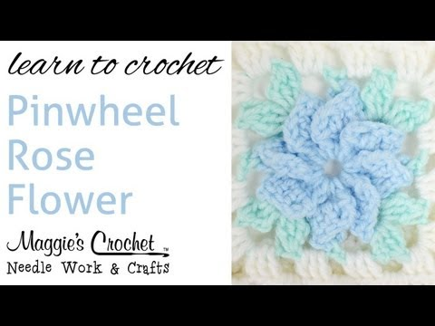 010 Crochet Pinwheel Rose FLOWER - Right Hand
