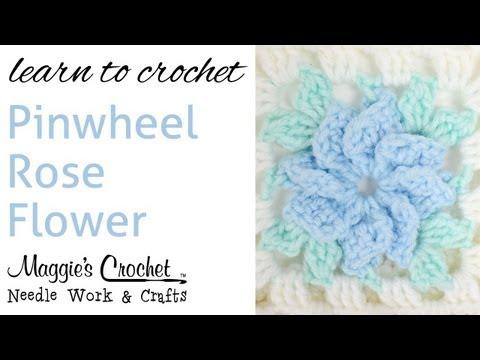 010 Crochet Pinwheel Rose FLOWER - Right Hand
