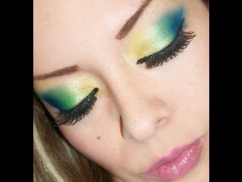 maquillaje sin usar brochas !! amarillo,verde y azul