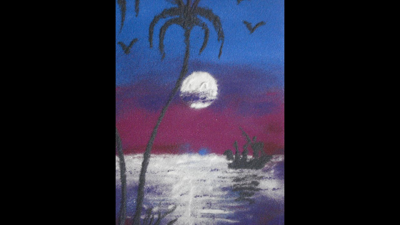 rangoli designs for scenery of beautiful moon & sea - YouTube