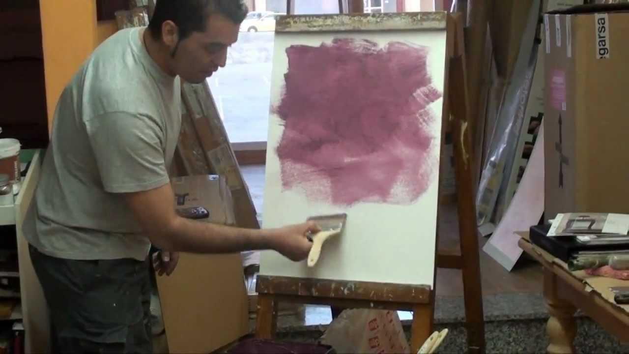 Demostraci n de aplicaci n de la pintura efecto arena - Pintura decorativa efecto arena ...