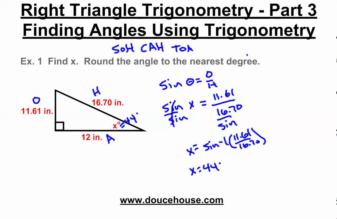 Right Triangle Trigonometry Finding Angles Inverse Functions Youtube