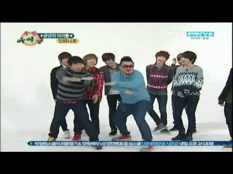Sunggyu ruins Infinite's dance, Infinite had to do a speed dance when a random song of theirs comes up and Sunggyu gets kicked out of Infinite because he kept messing up their synchronizati...