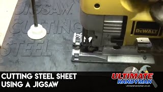 Cutting sheet steel using a jigsaw