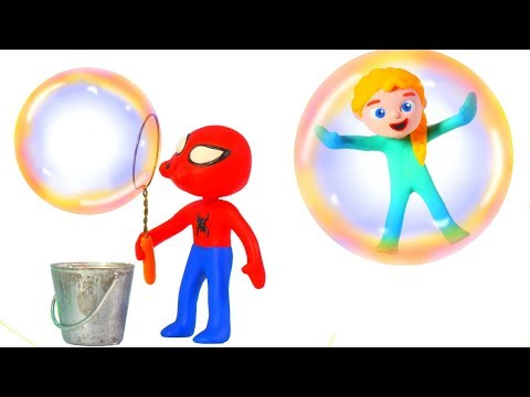 FUNNY KIDS MAKE GIANT BUBBLES  ❤ Play Doh Cartoons For Kids
