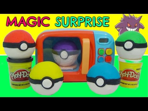 Learn Colors with POKEMON GO Play-Doh SLIME Surprise TOYS and MAGIC MICROWAVE Cooking Playset