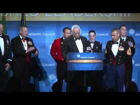 Colin Powell Presents Joseph F. Dunford, Jr. with 2014 Distinguished Military Leadership Award