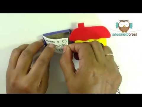 Lembrancinhas - Artesanato em EVA - Casinha de EVA com Caixa de fósforo