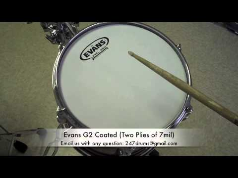 Coated Heads (Remo/Evans) G1-Ambassador-G2-Emperor  THE REAL TEST - SR (Sound Review) by 247drums