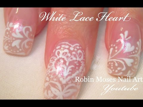 Pretty White Lace Hearts Nail Art