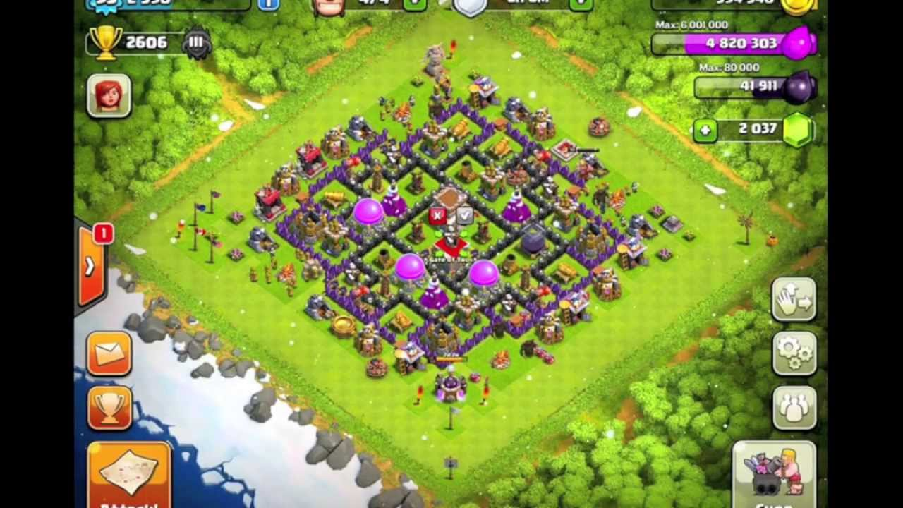 Maxed th8 base in master league youtube