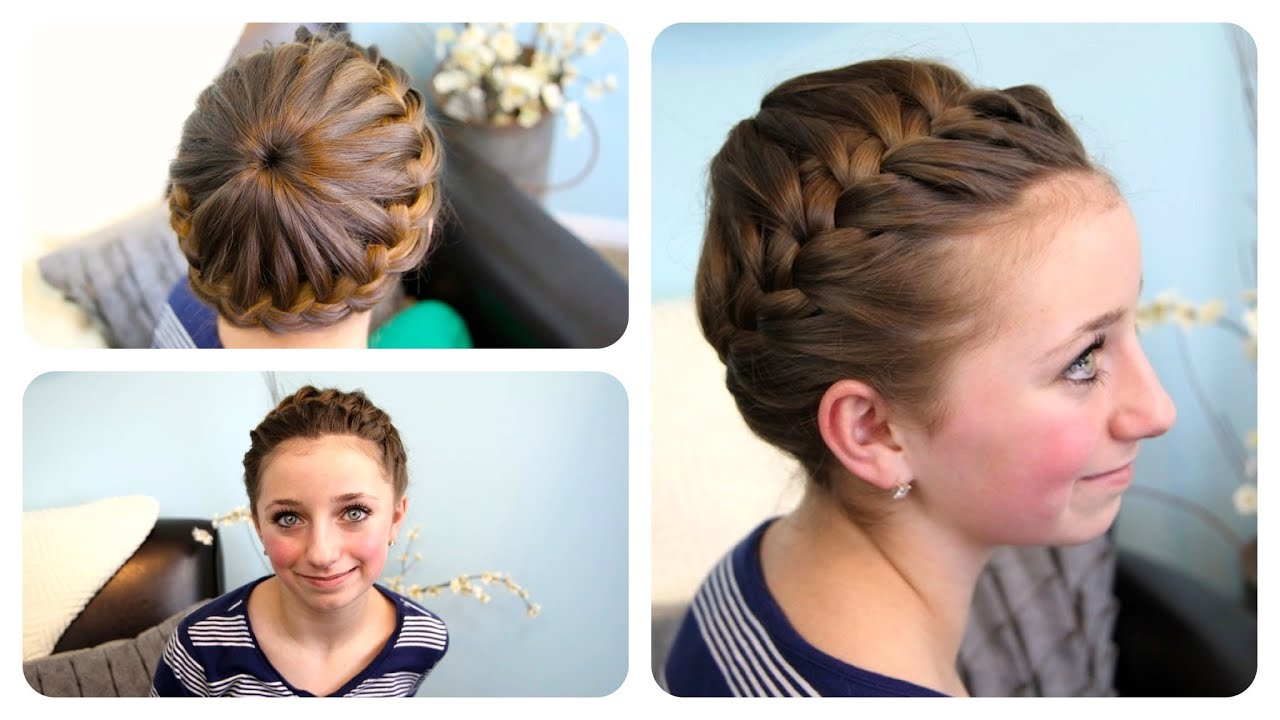 ... Crown Braid Updo Hairstyles Cute Girls Hairstyles - YouTube