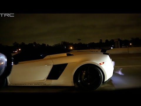 TX2K14 - INSANE 1800hp Gallardo races Alpha 16 GTR on the street