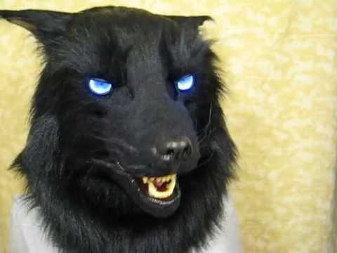 Black wolf fursuit mask---blue LEDs and moving jaw - YouTube