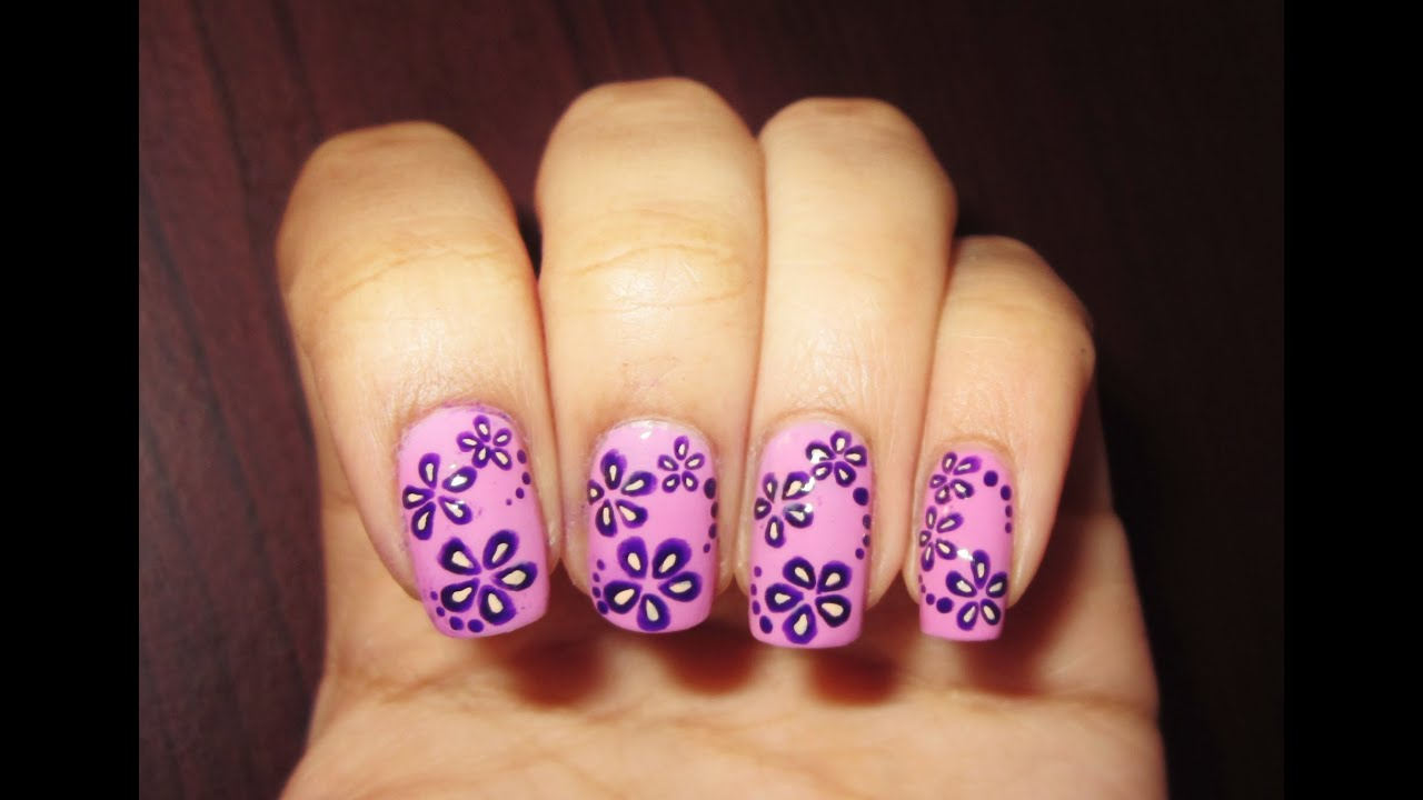 Flower Nail Art - YouTube