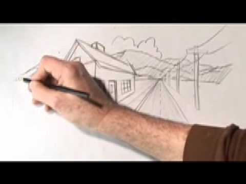 How To Draw One and Two-Point Perspective, with Karl Gude, Karl draws a road, house and phone poles all disappearing into distant mountains. The road, phone poles and front of the house are all in one-point perspecti...