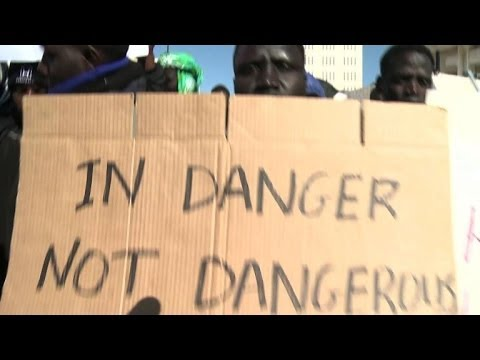 Illegal African immigrants protest Israel detention