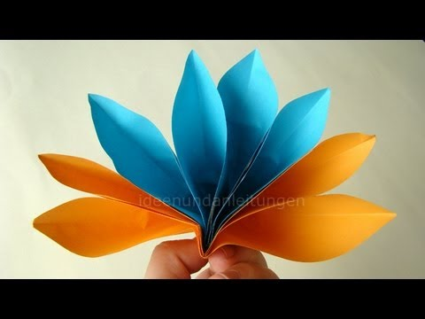 papier falten origami blume basteln einfache bl te fr hlingsbasteln youtube. Black Bedroom Furniture Sets. Home Design Ideas
