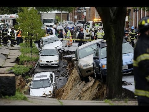 Watch Terrifying Footage: Baltimore Street To Collapse, Swallowing More Than a Half-Dozen Cars