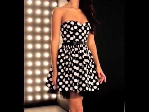 Forever Unique Dress Paige In Black/Cream Spot.