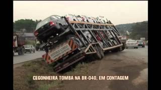 Cegonheira se envolve em acidente na BR-040