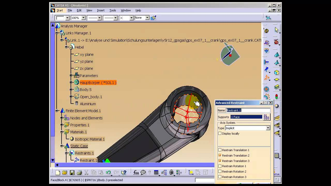 Fem analyse mit catia v5 youtube for Finite elemente analyse