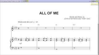 John Legend's All Of Me Piano Sheet Music [Teaser]