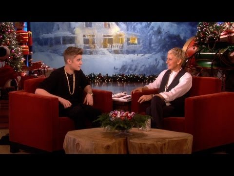 Justin's Big Announcement, While he was here, Justin Bieber revealed some major news about a new album! He also played around with Ellen's fun toy for the holidays, the Hole-y Cow! Get...