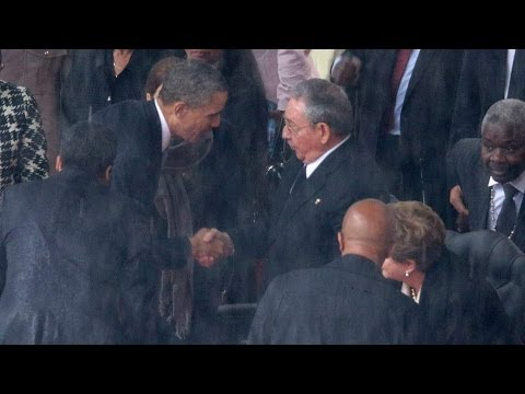 Barack Obama And Raul Castro Shake Hands At Mandela Memorial