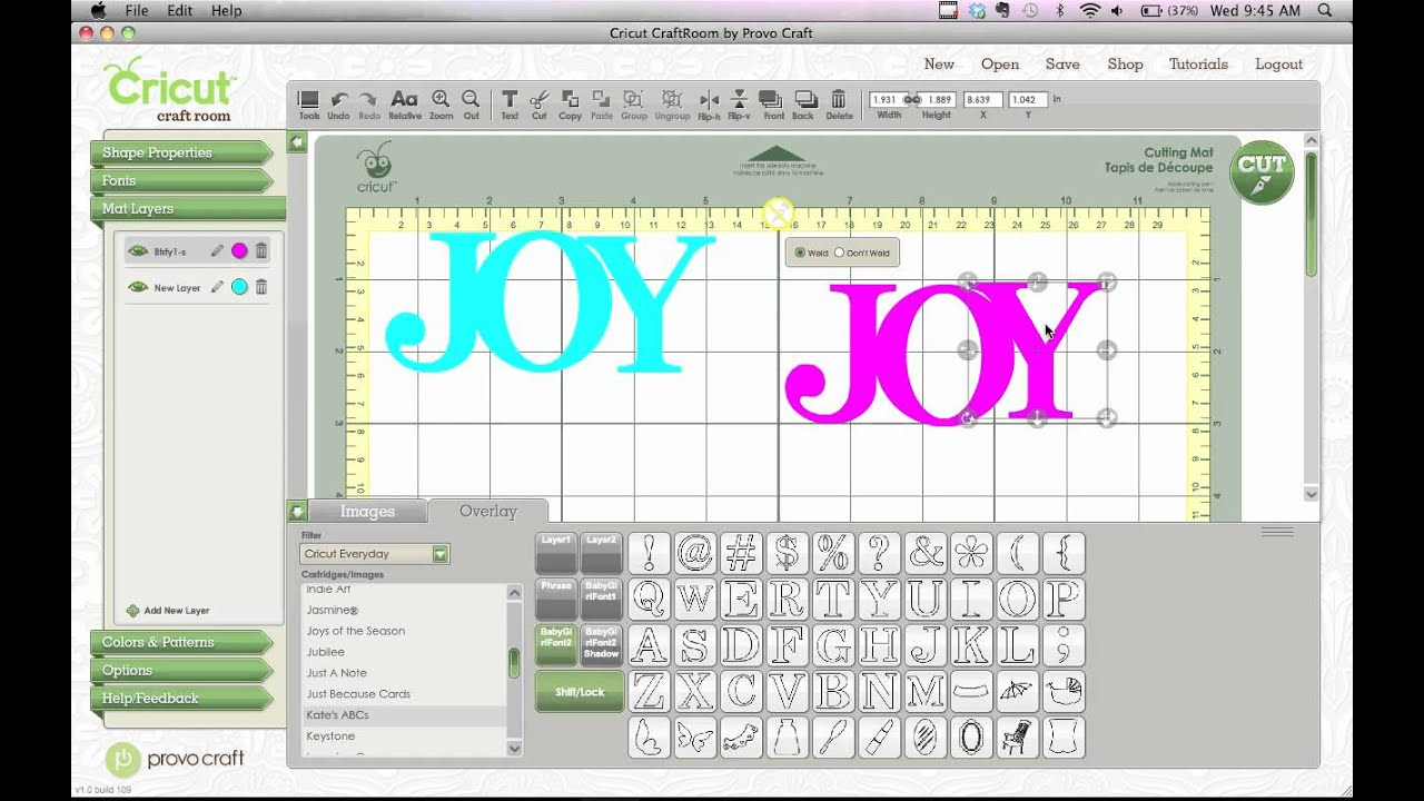 Cricut craft room how to shadow welded images youtube for Cricut craft room download