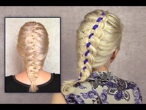 ... Ribbon braid hairstyle for short medium long hair how to - YouTube