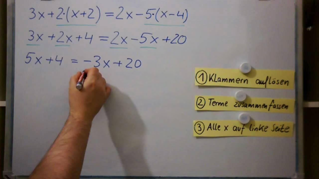 Gleichungen Mit Klammern Arbeitsblatt: Aufgaben lineare gleichungen ...