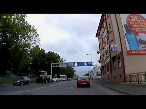 CZ: Cheb (Eger) Ortsdurchfahrt von Stadtrand bis St. Nikolaus Kirche Mai 2013