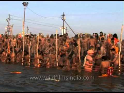 Hindu Naga Sadhu gather to take a holy dip in river Ganges - Ardh Kumbh, 2007