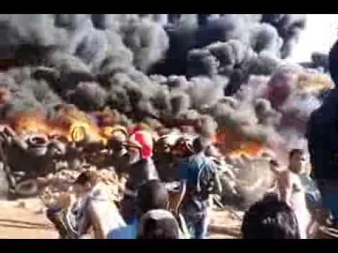حريق اخليج تيكيوين في مستودع hari9 akhlije tikiouine